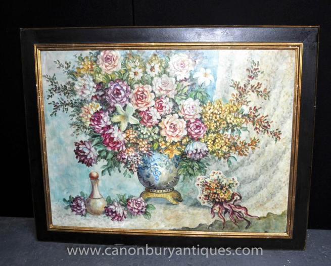 Art Nouveau Floral Spray Still Life Oil Painting