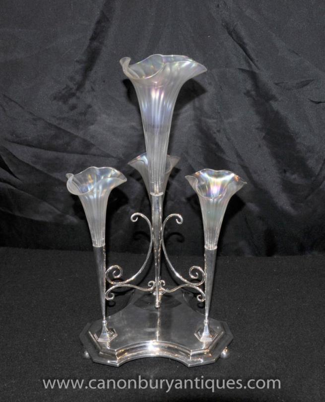 Art Nouveau Silver Plate Epergne Centrepiece Rose Vase