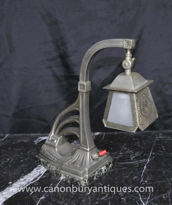 Art Nouveau Silver Plate Table Lamp Light Pewter