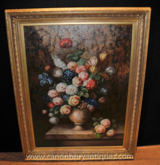 Dutch Oil Painting Vivid Floral Still Life Flower Art