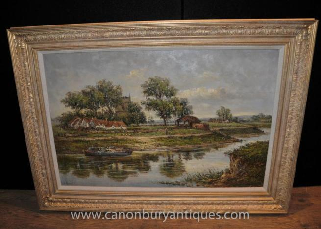 English Impressionist Norfolk Broads Landscape Oil Painting Edwardian Art