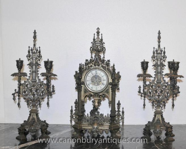 English Victorian Gothic Clock Set Garniture Candelabras