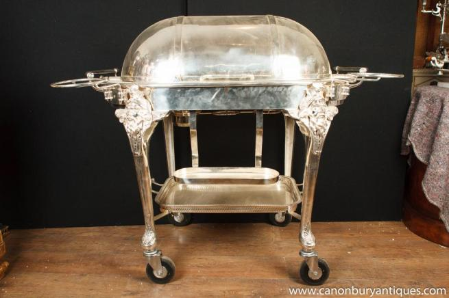 English Victorian Silver Plate Beef Trolley Serving Table Restaurant Carvery