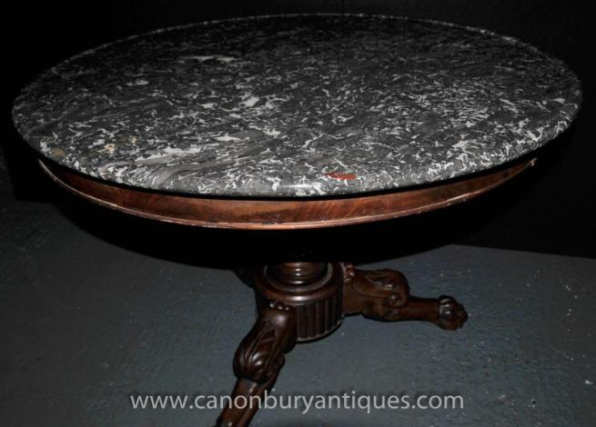 French Antique Gueridon Round Centre Table 1830 Empire Dining Table