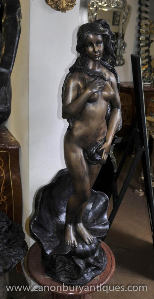 French Rococo Bronze Nude Female Fountain Conch Shell Statue