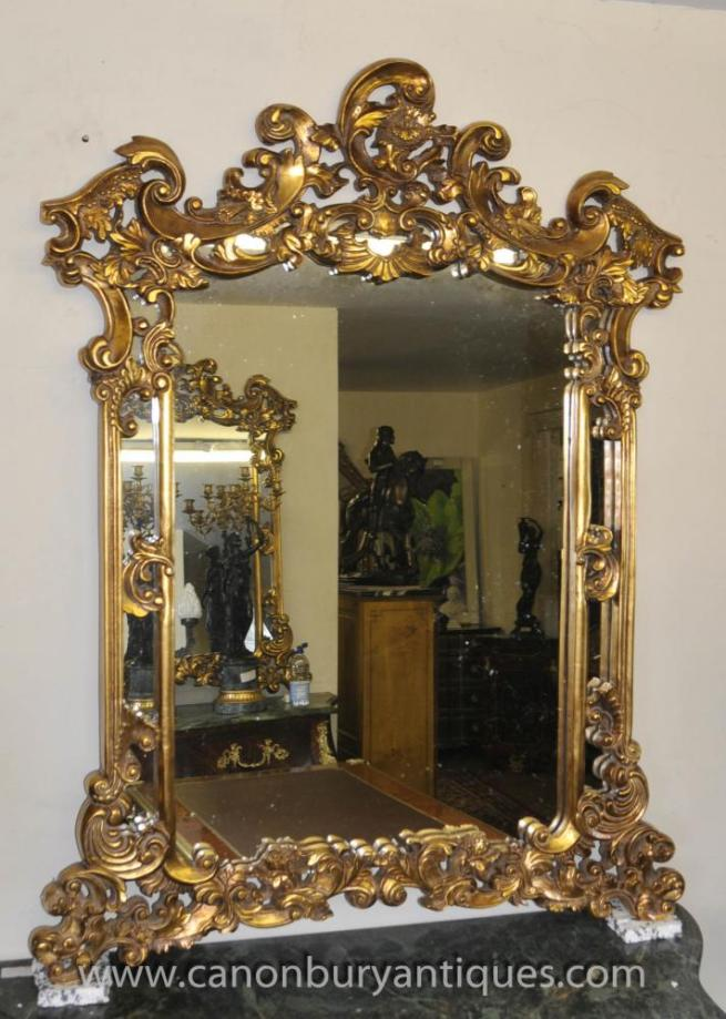 French Rococo Louis XV Gilt Pier Mirror Mantle Mirrors