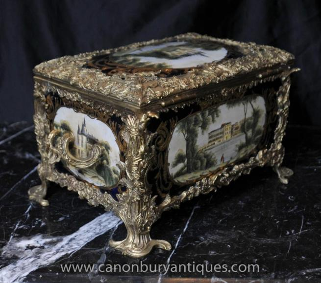 French Sevres Porcelain Jewellery Case Box Trinkets