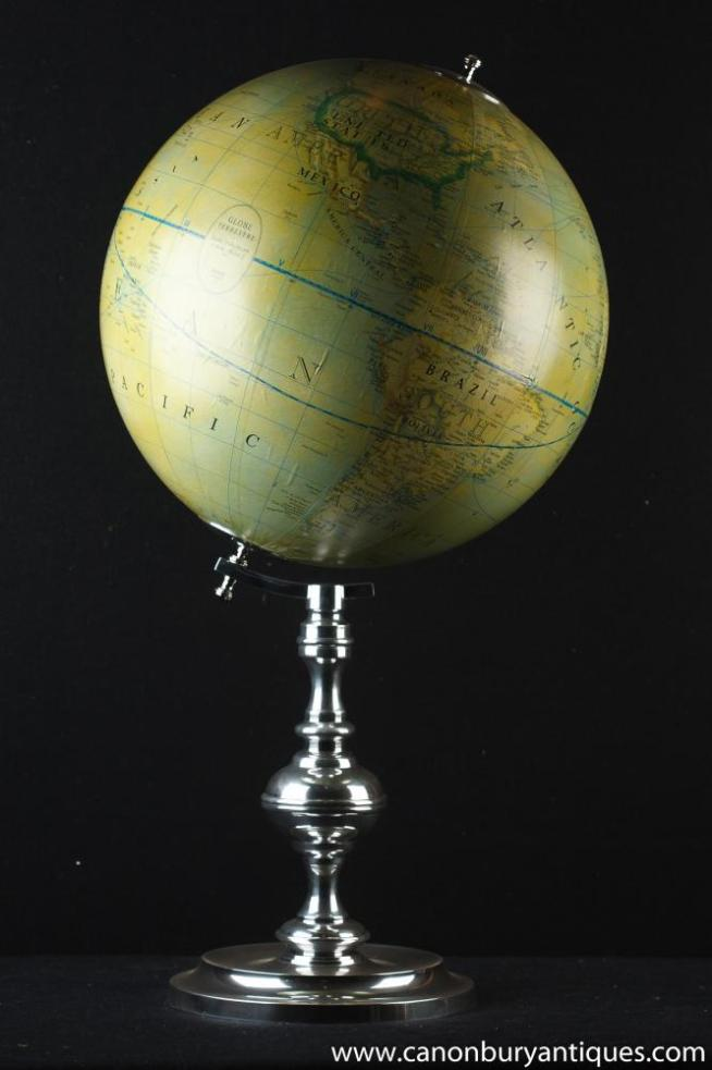 French Silver Plate Globe World Map Terrestre