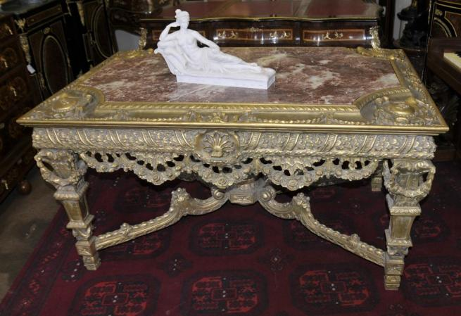 George II Gilt Console Table Hand Carved Base Marble Top Tables