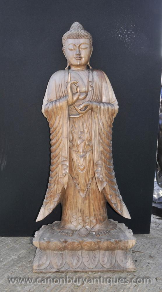 Hand Carved Burmese Buddha Statue Lotus Flower Base Buddhist Art Buddhism