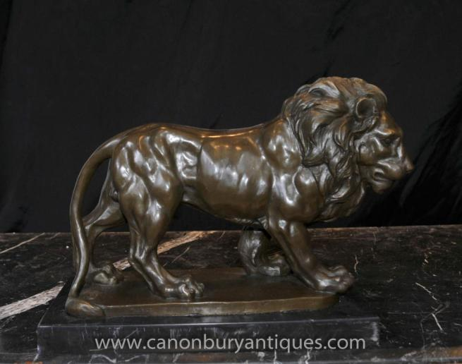 Italian Bronze Lion Statue Signed Giainbologna Animals Cats Bronzes
