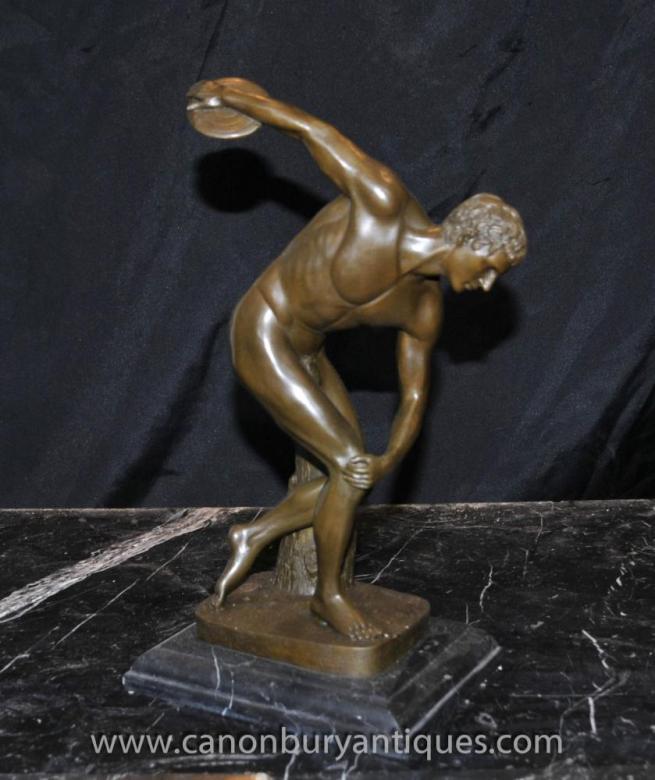 Italian Bronze Nude Discus Thrower Statue Male Athlet
