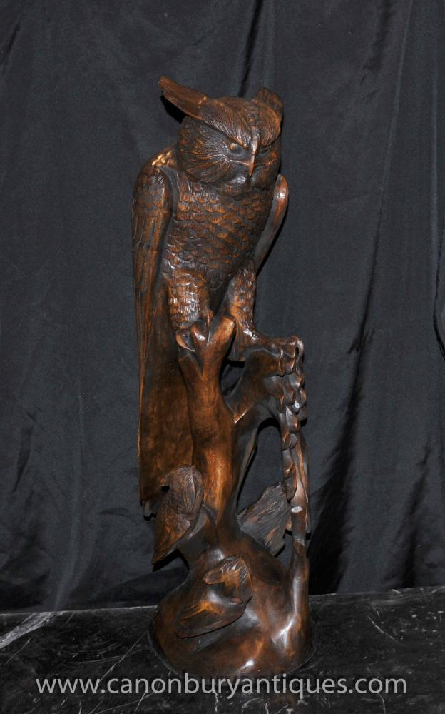 Large Hand Carved Owl Bird Statue Birds of Prey Carving Wood