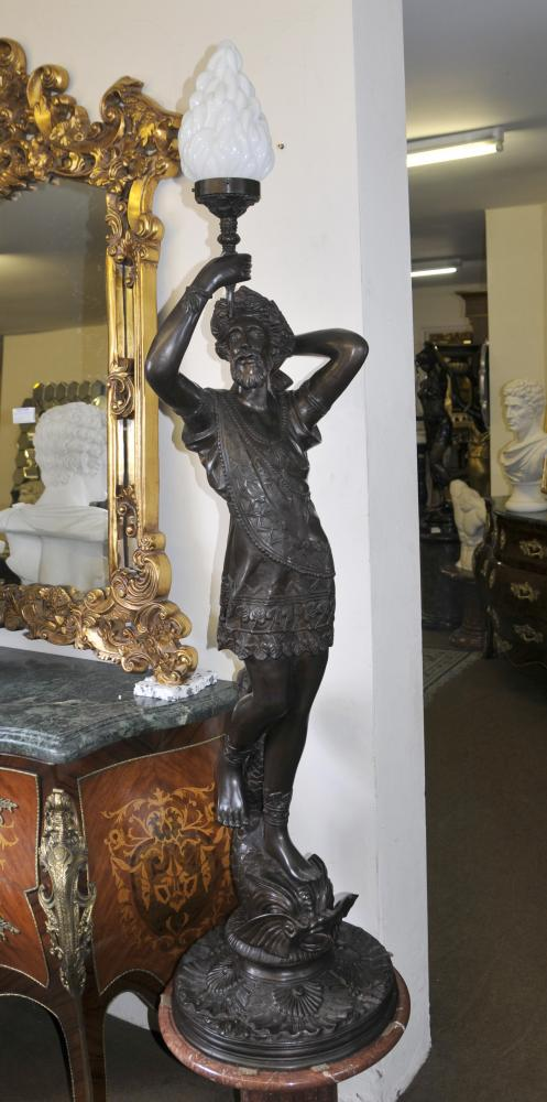 Large Italian Bronze Classic Male Light Statue Torchere Light