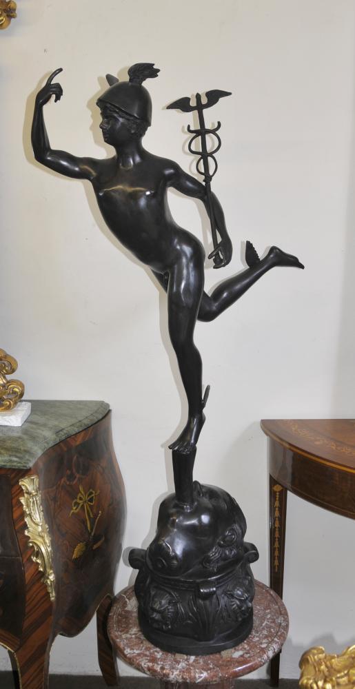 Large Italian Bronze Hermes Mercury Statue Classic Myth Figurine