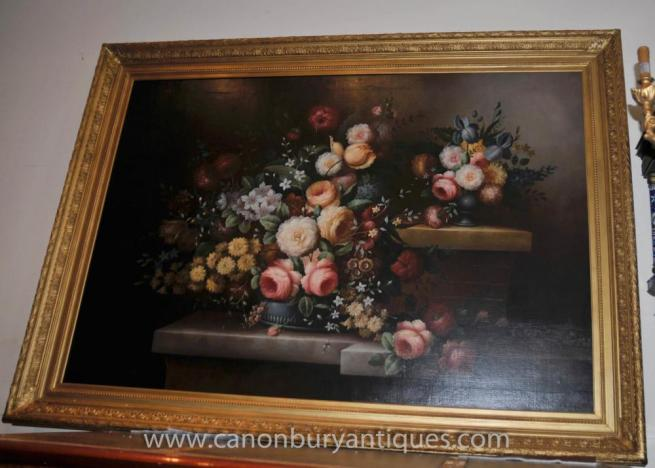 Large Victorian Floral Still Life Oil Painting Gilt Frame