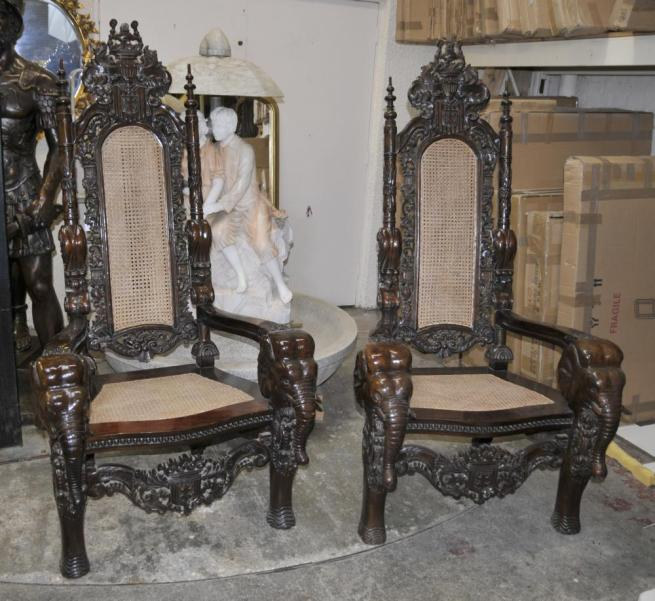 Lord Raffles Gothic Arm Chairs Throne Chair Hand Carved Elephant Arms