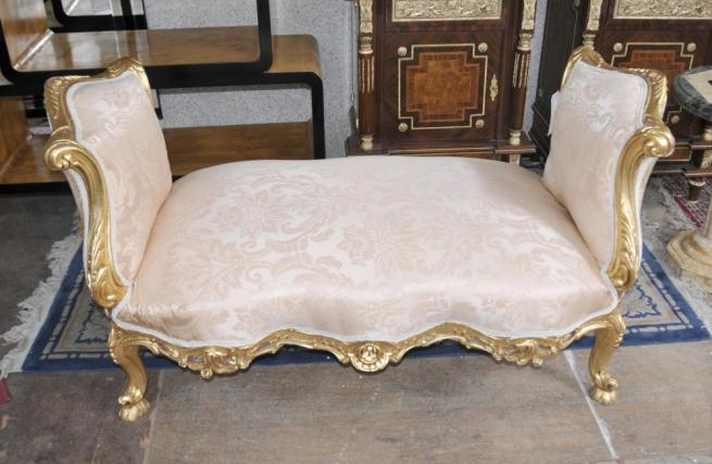 Louis XV Gilt Stool Seat Chaise French Chairs