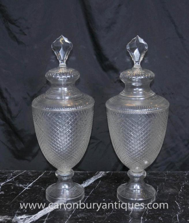Pair Antique Cut Glass Victorian Urns Lidded Vase