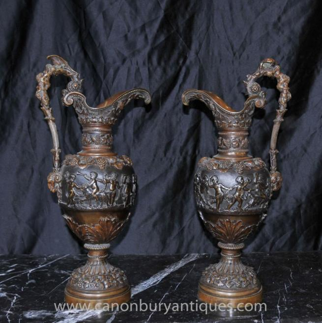 Pair Antique French Bronze Amphora Urn Jugs Cherub Urns 1890