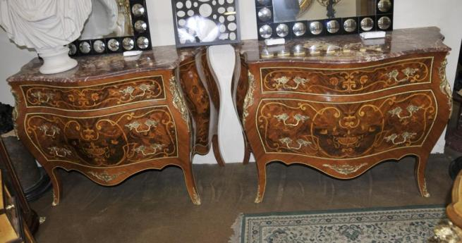Pair Bombe Commodes Louis XV Chests Drawers Chest French Furniture
