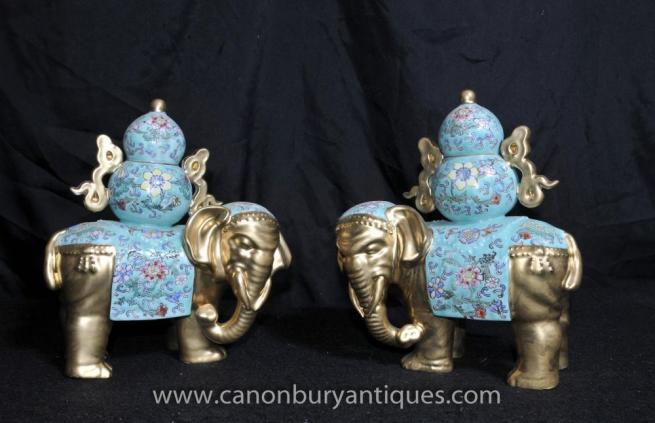 Pair Chinese Porcelain Elephant Statues Floral Famille Rose Ceramic