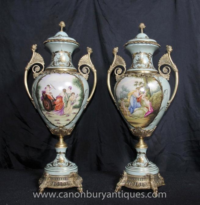 Pair Dresden Porcelain Amphora Urns Vases Angel Panels