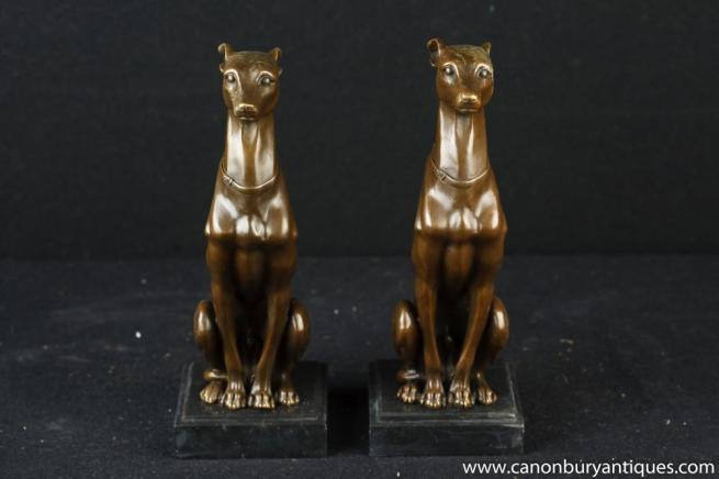 Pair French Art Deco Bronze Greyhounds Greyhound Dog Statue