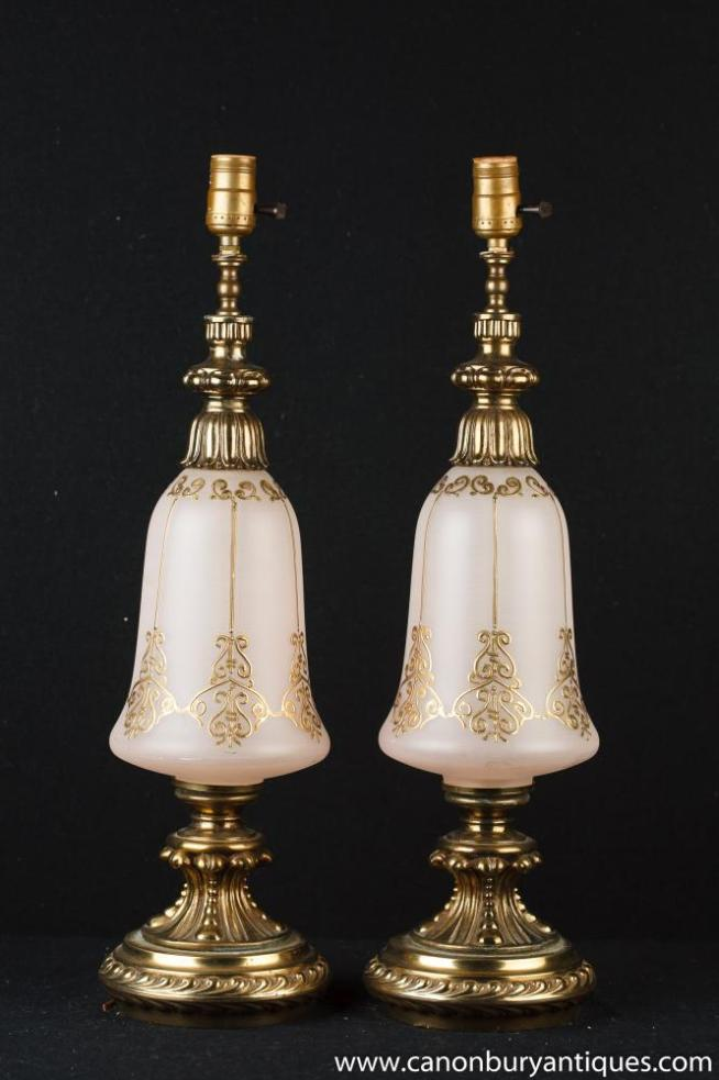 Pair French Art Nouveau Opaline Glass Table Lamps Lights