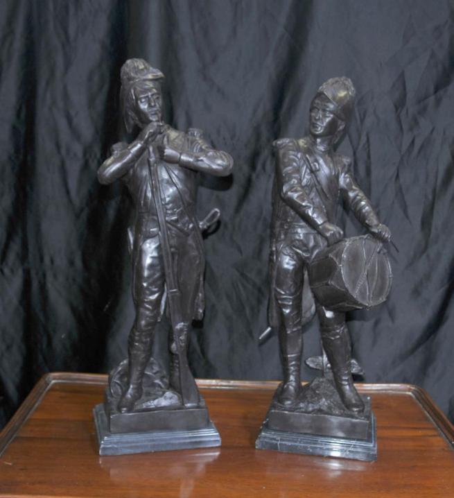 Pair French Bronze Soldiers Battle Waterloo Napoleon