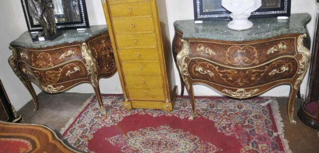 Pair French Commmodes Bombe Chests of Drawers Empire Furniture