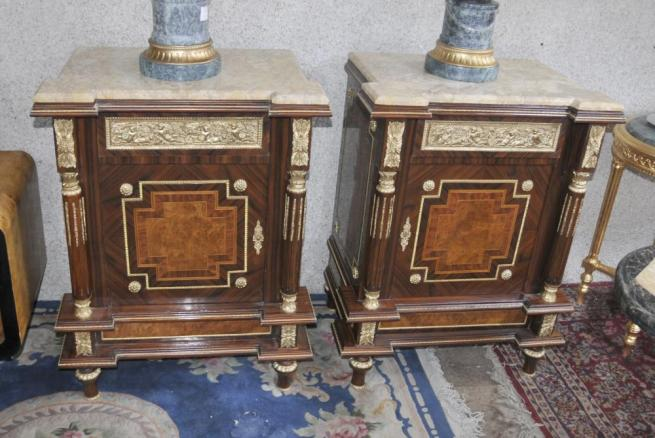 Pair French Empire Chests Commodes Marquetry Inlay Interiors