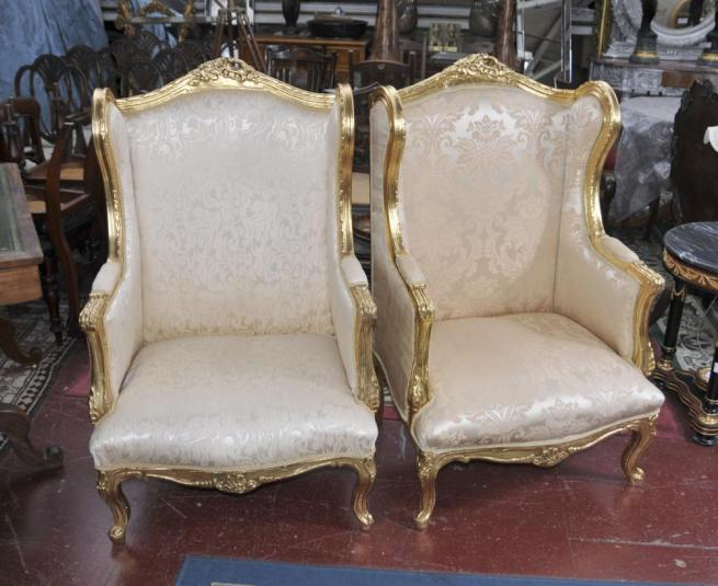 Pair French Louis XV Arm Chairs Fauteils Sofa Seat High Back