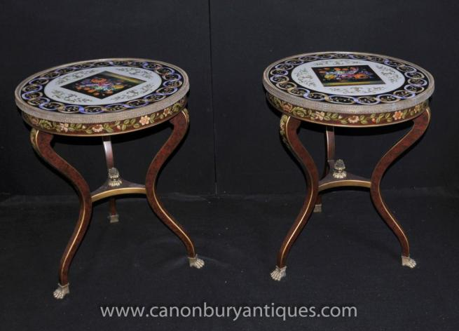 Pair French Louis XV Painted Side Tables Cabriole Legs