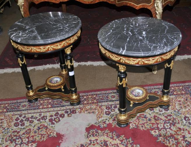 Pair French Louis XV Sevres Side Cocktail Tables