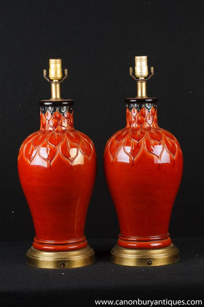 Pair French Porceain Sange de Boeuf Table Lamps Lights Flambe