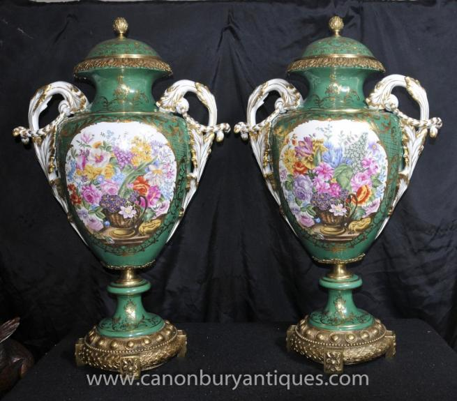 Pair French Sevres Floral Vases Urns Ormolu Fixtures Amphora Form