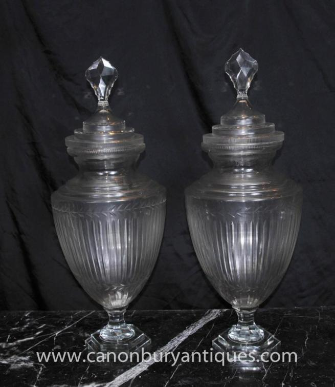 Pair Glass Victorian Amphora Urns Whisky Jar Vase
