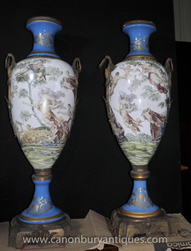 Pair Large French Sevres Porcelain Amphora Vases Urns