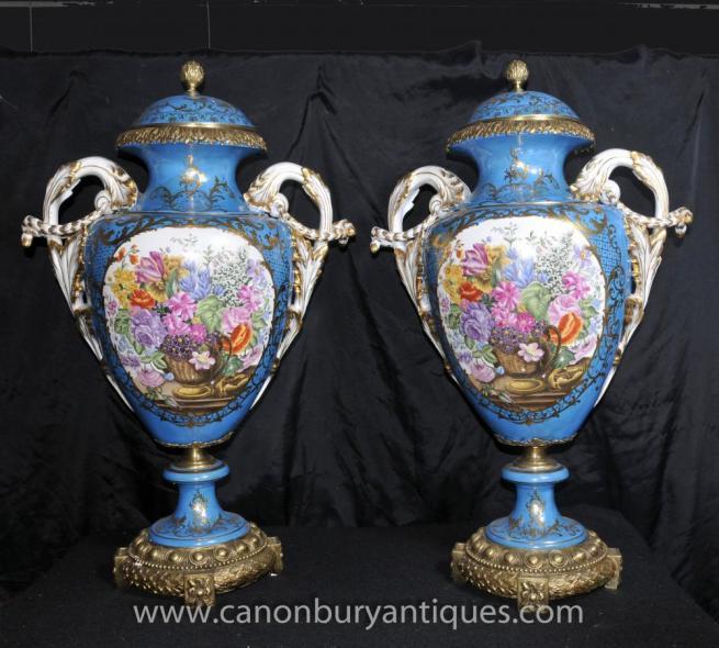 Pair Large Sevres Floral Porcelain Vases Amphora Urns