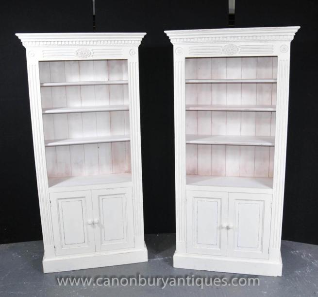 Pair Painted Kitchen Oak Dresser Cabinets Potboard Farmhouse Bookcase