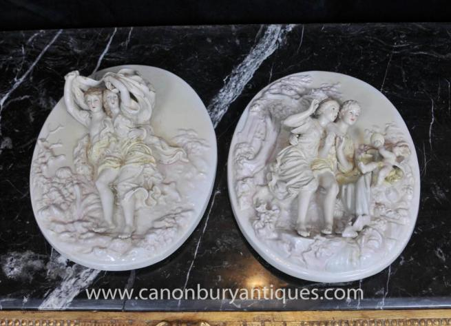 Pair Sevres Porcelain Cherub Relief Plaques Wall Plates Angel