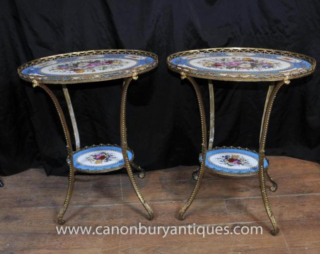 Pair Sevres Porcelain Floral Occassional Tables Side Table