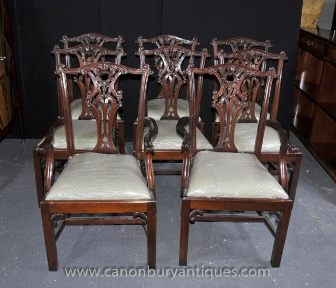 Set 8 Chippendale Dining Chairs Mahogany Diners
