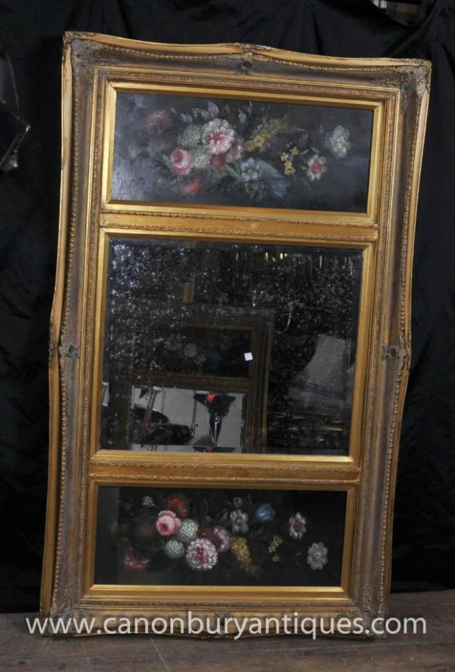 Victorian Mantle Mirror Oil Painting Gilt Frame Floral Still Life