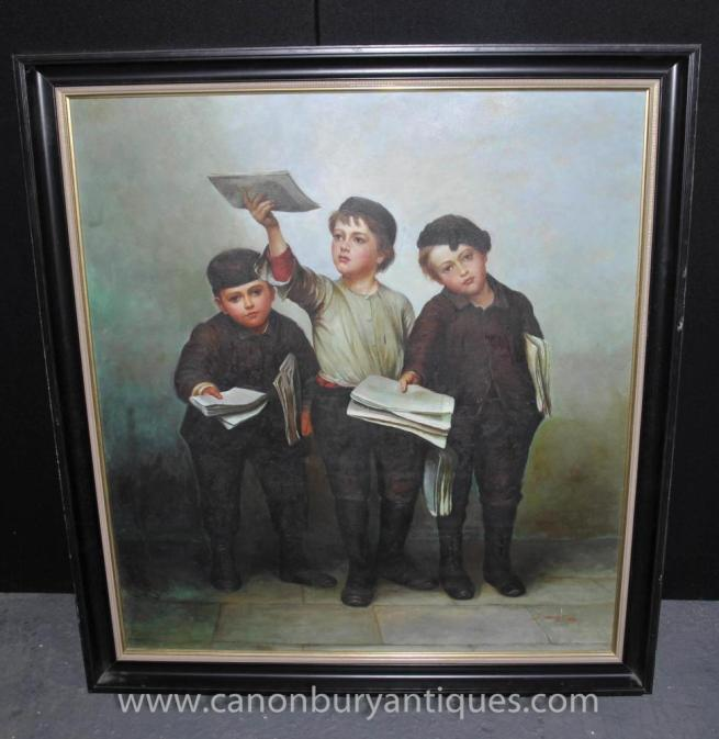 Victorian Oil Painting Three Boy Scholars Portrait