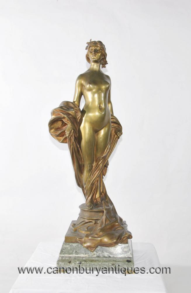 Antique Bronze Female Nude Figurine Statue Signed A Seyssie Circa 1900