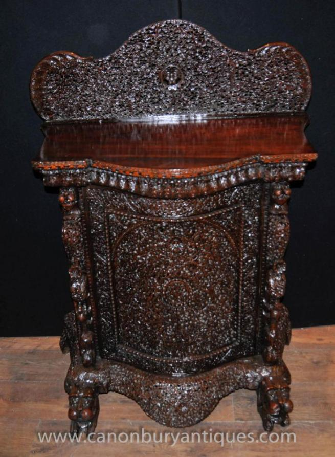 Antique Burmese Hand Carved Cabinet Sideboard Server Chest