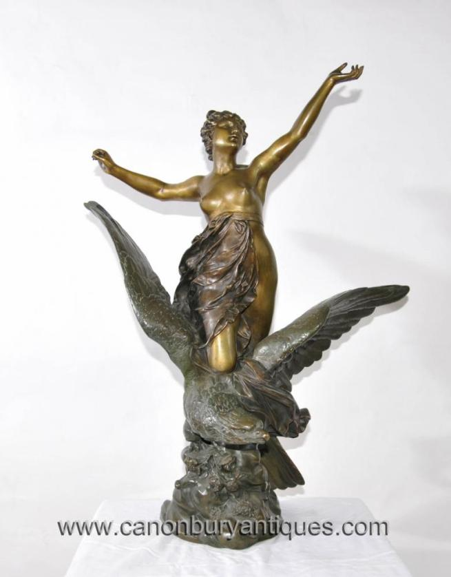 Antique Italian Bronze Hebe Eagle Female Figurine 1890s Signed