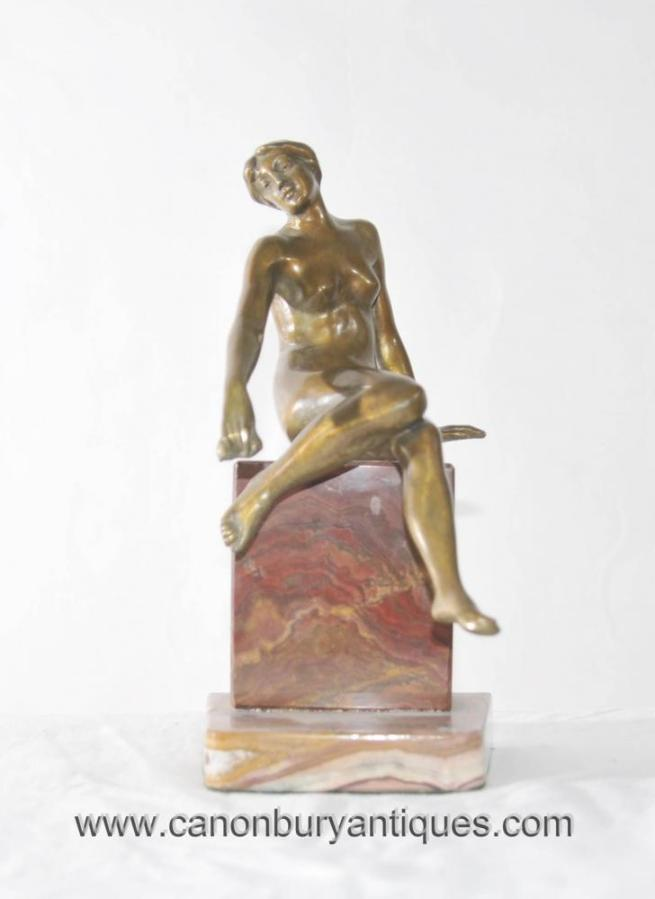 Art Deco Nude Female Figurine Marble Base Naked Statue Onyx